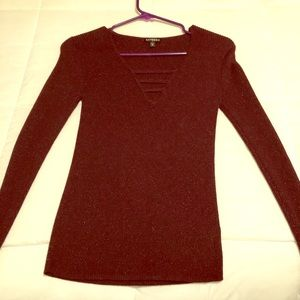 Express sparkle wine colored top